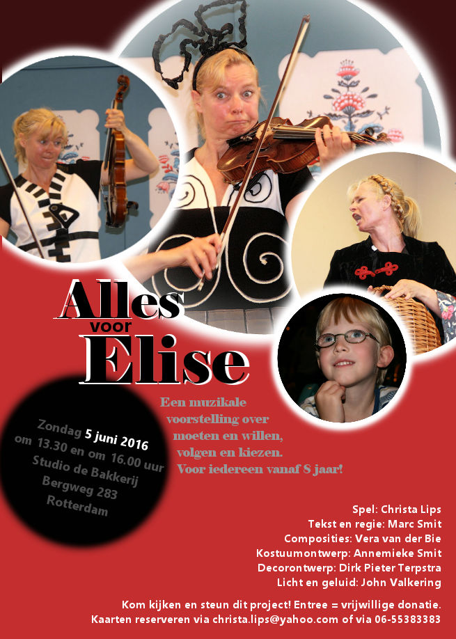 Flyer voor muzikaal theaterstuk door Christa Lips (design Marjolein Roeffel)